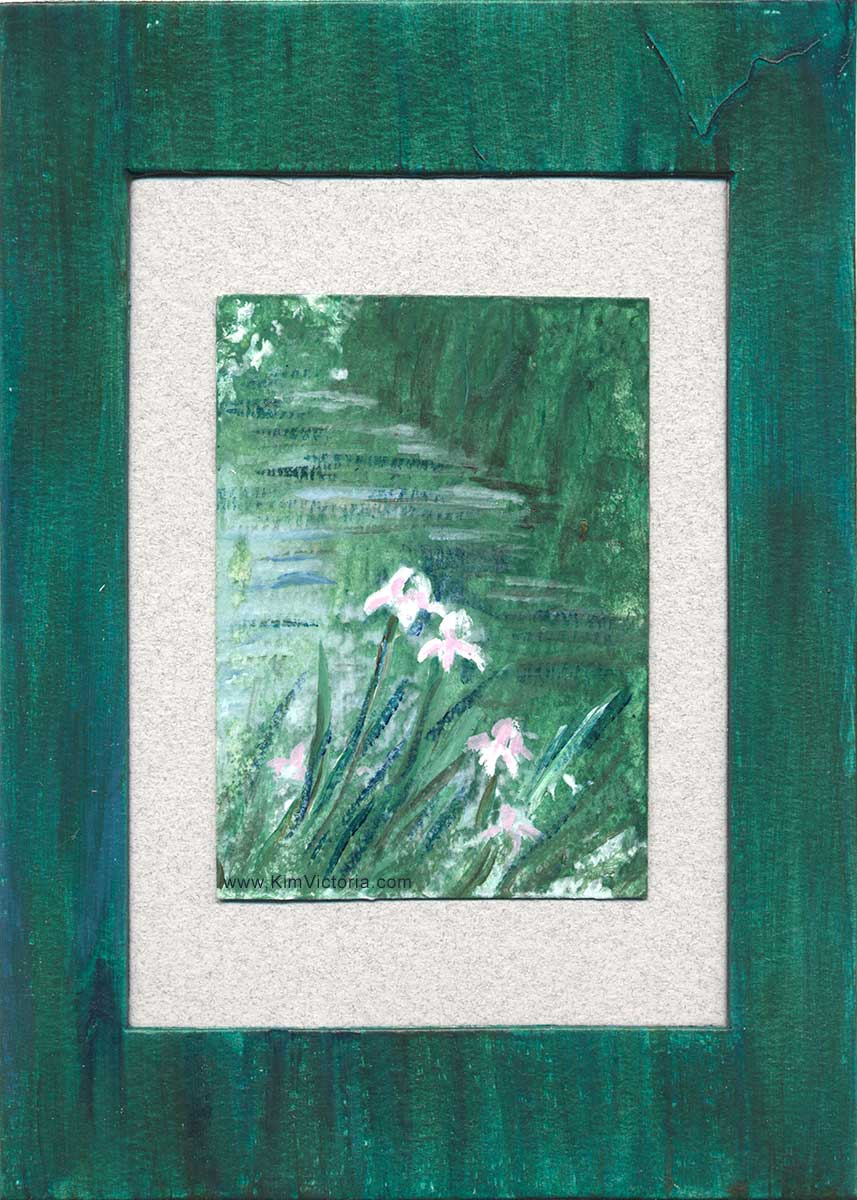 Iris Pond Acrylic miniature painting matted