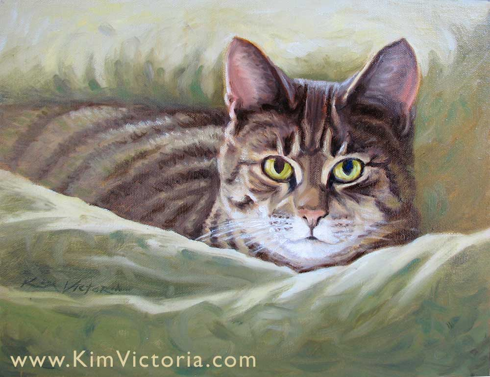 Oil painting Tabby Cat by Kim Victoria