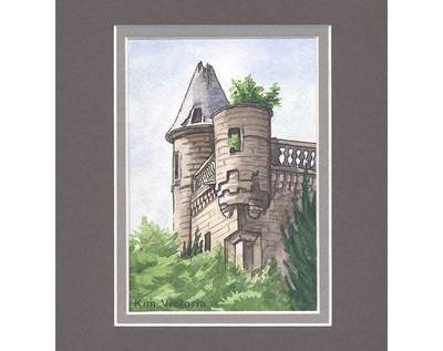Buchanan Castle ruin watercolor painting by Kim Victoria