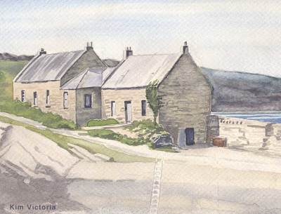 Stone House, fisherman's home on the coast of SW Scotland, watercolor painting by Kim Victoria