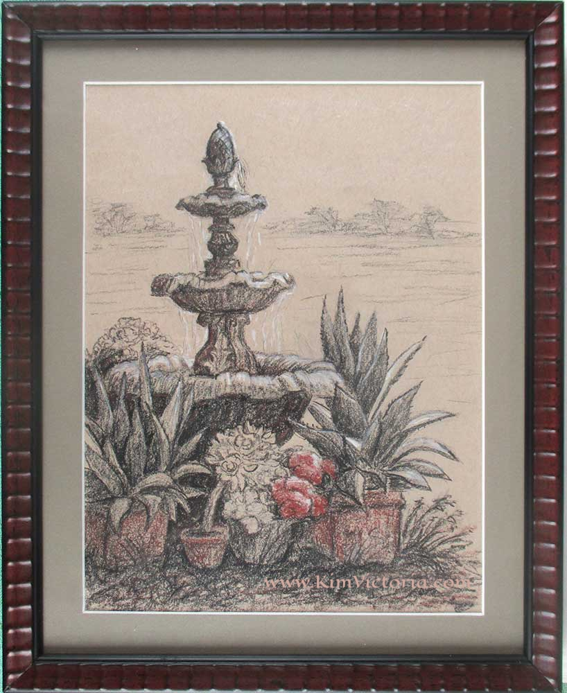 Ranch fountain drawing  by Kim Victoria