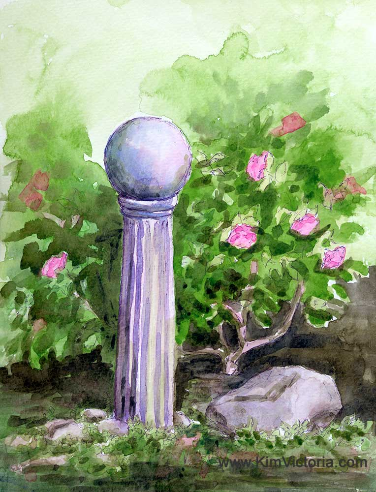 Gazing Ball Expression watercolor  by Kim Victoria