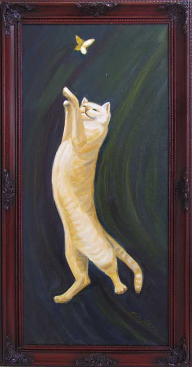 Oil painting Dance of the cat and butterfly by Kim Victoria