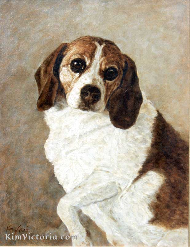 Oil painting Lady Beagle in the style of Rembrandt by Kim Victoria