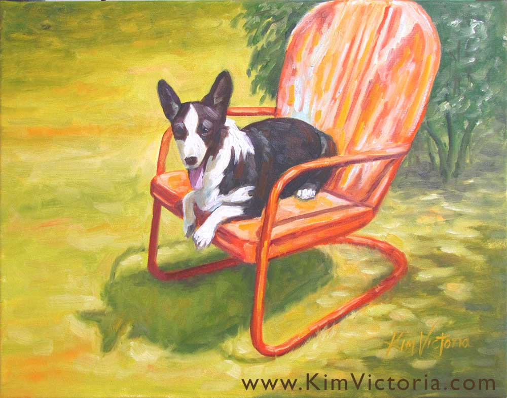 Oil painting of a Cardigan Corgi by Kim Victoria