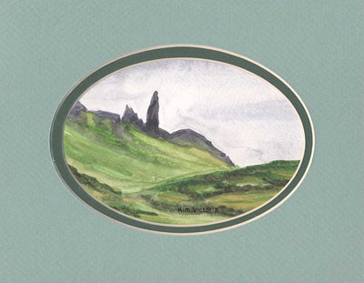 Old Man of Storr, Isle of Skye, Scotland, watercolor painting by Kim Victoria