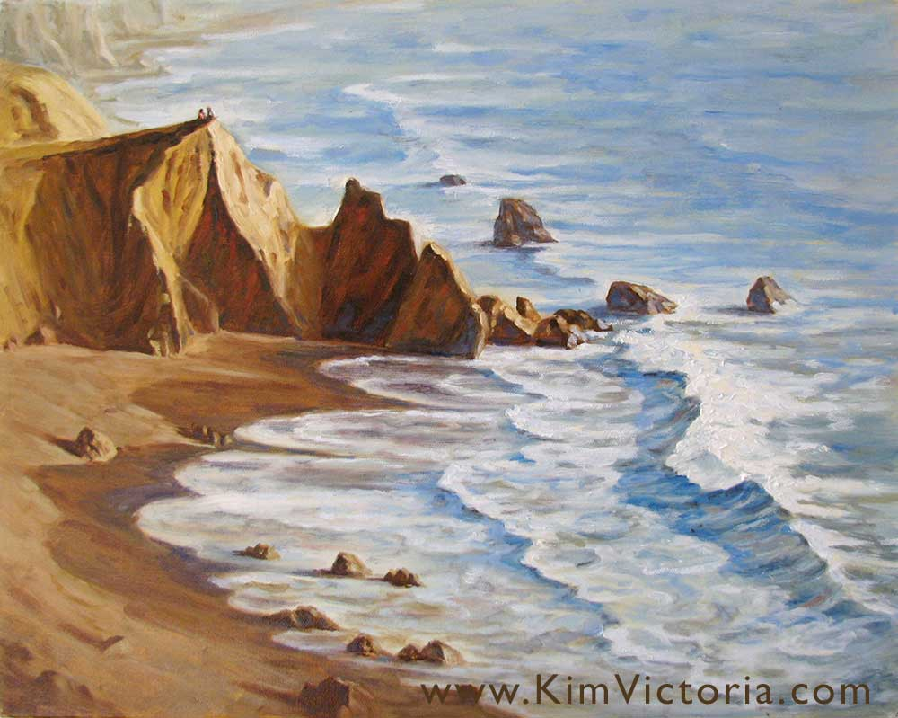 Oil painting seascape Point Of View