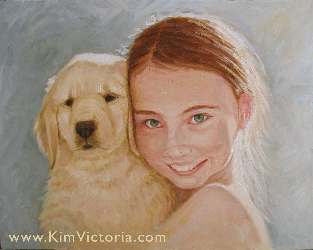 Oil painting portrait Girl & Puppy by Kim Victoria