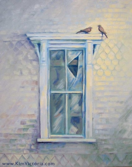 Oil painting 1800s window