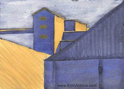 Rice Mill Abstract Watercolor Painting by Kim Victoria
