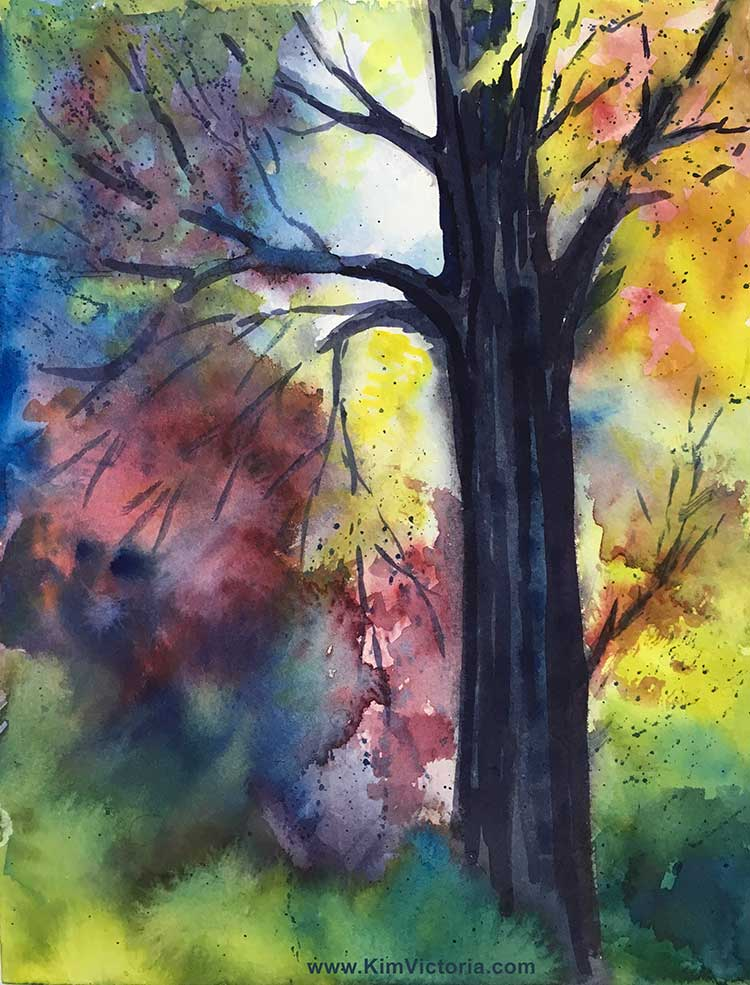 Rainbow Tree watercolor  by Kim Victoria