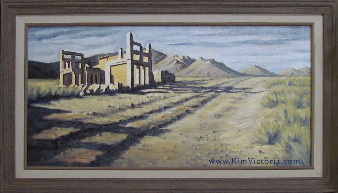 Oil painting Ryolite Ghost Town