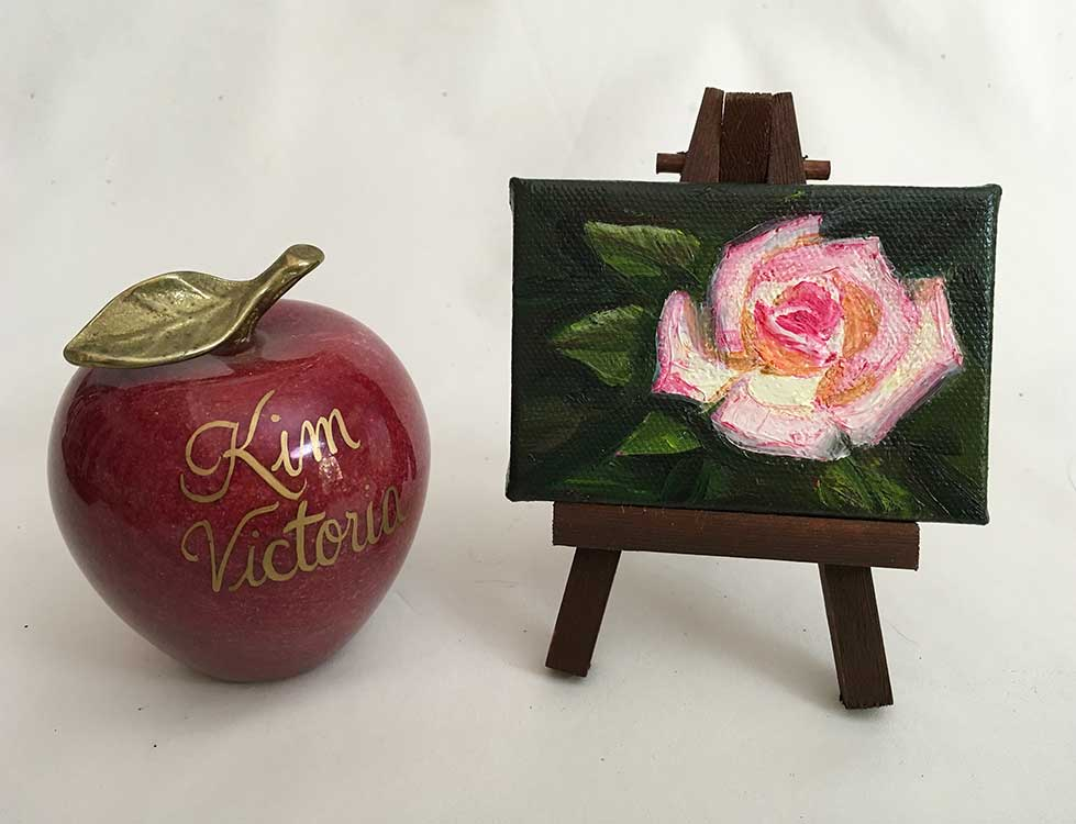 Rose Peace miniature oil painting by Kim Victoria