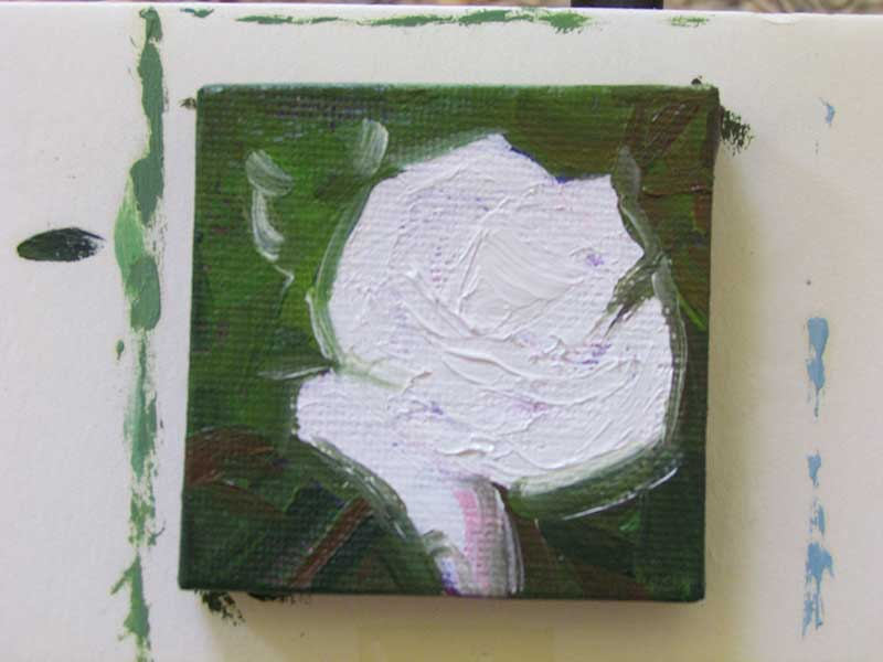 First layer for Rose Pink miniature oil painting by Kim Victoria