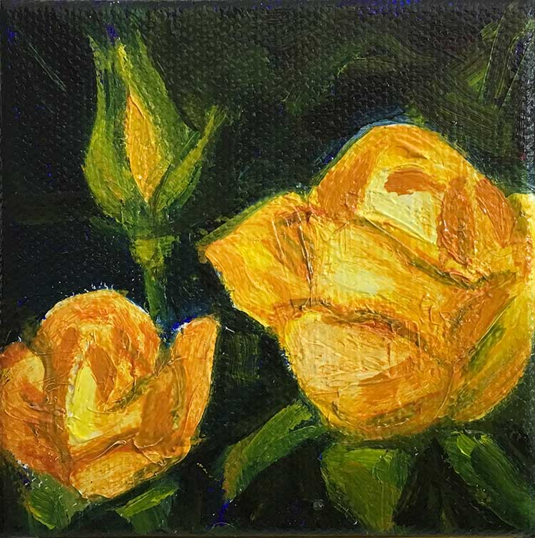 Rose Yellow Trio miniature oil painting by Kim Victoria