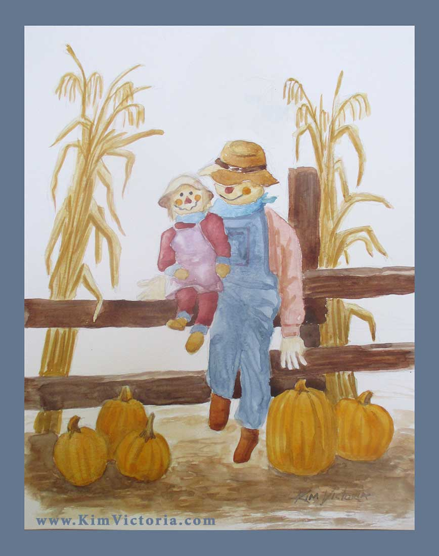 Scarecrow Family watercolor  by Kim Victoria