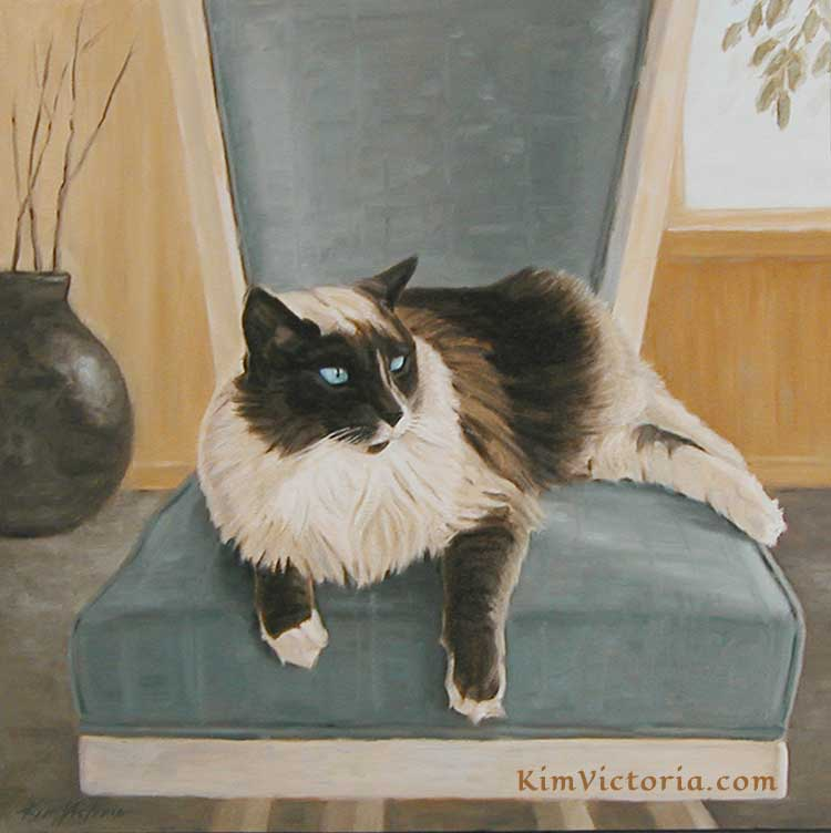 Oil painting Taz Siamese Cat portrait by Kim Victoria