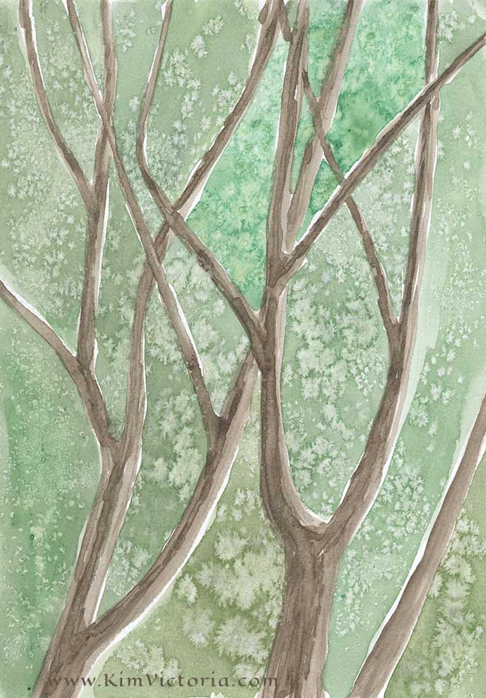 Bare Branches-Cabin Tress watercolor  by Kim Victoria