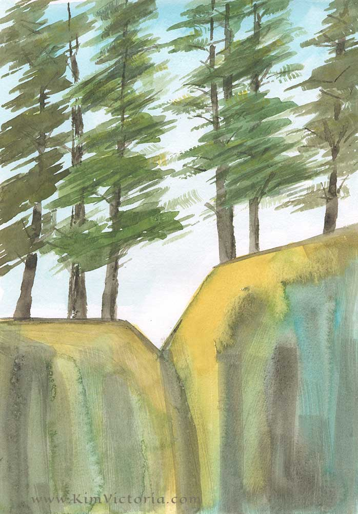 Cliff Pines abstract watercolor by Kim Victoria