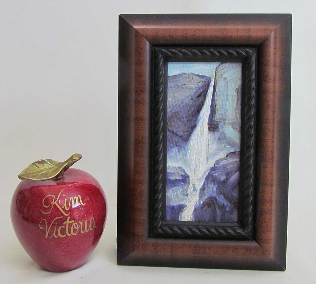 Yosemite Falls miniature oil painting by Kim Victoria