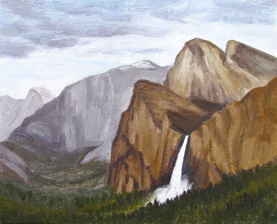 Yosemite Postcard Bridal Veil Falls oil painting by Kim Victoria